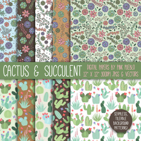 Cactus and Succulent Digital Paper - PinkPueblo