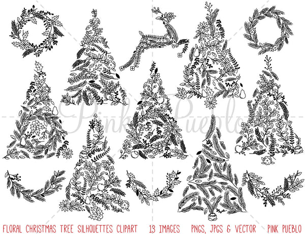 Floral Christmas Tree Silhouettes Clipart and Vectors