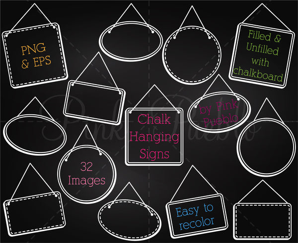 Chalkboard Hanging Frames or Signs Clipart and Vectors