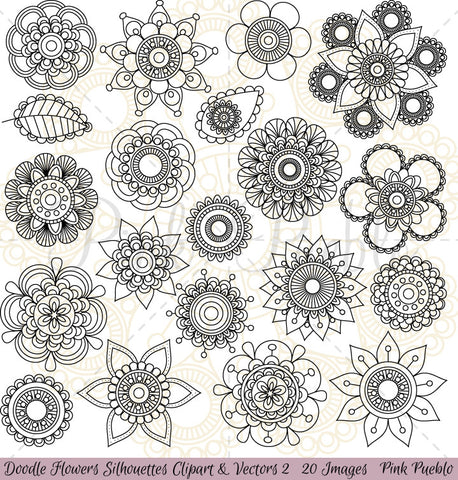 Doodle Flower Silhouettes Clipart and Vectors - PinkPueblo