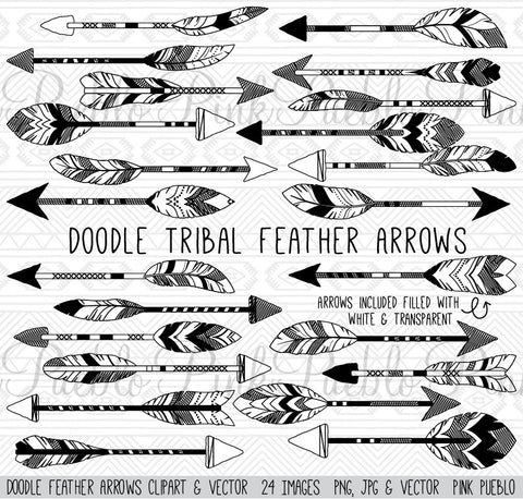 Doodle Tribal Feather Arrows Clipart - PinkPueblo