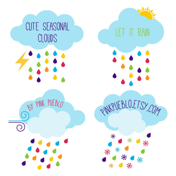 Freebie - Seasonal Clouds Clipart and Vectors - PinkPueblo