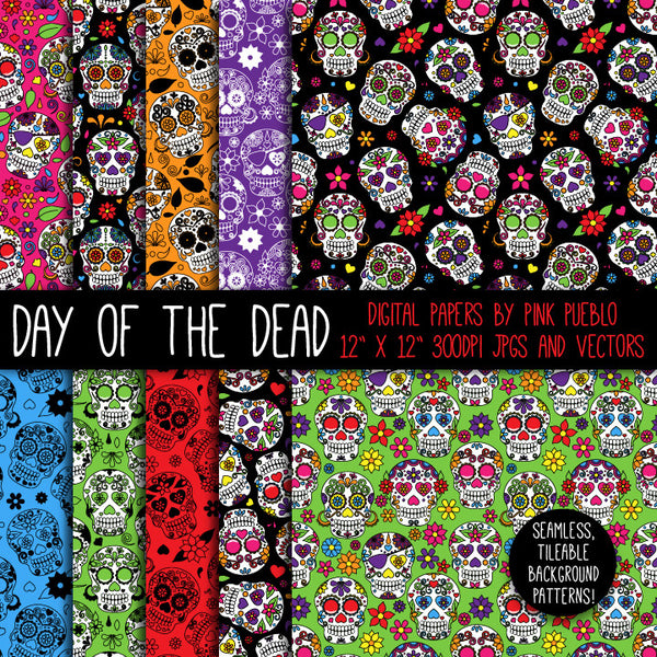 Day of the Dead Skulls Patterns and Papers