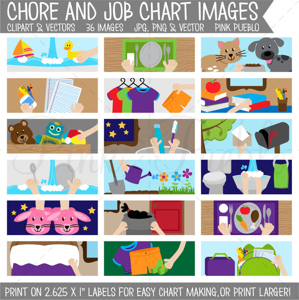Chore Chart Clipart, Printable Chore Chart for Kids - Commercial and Personal Use