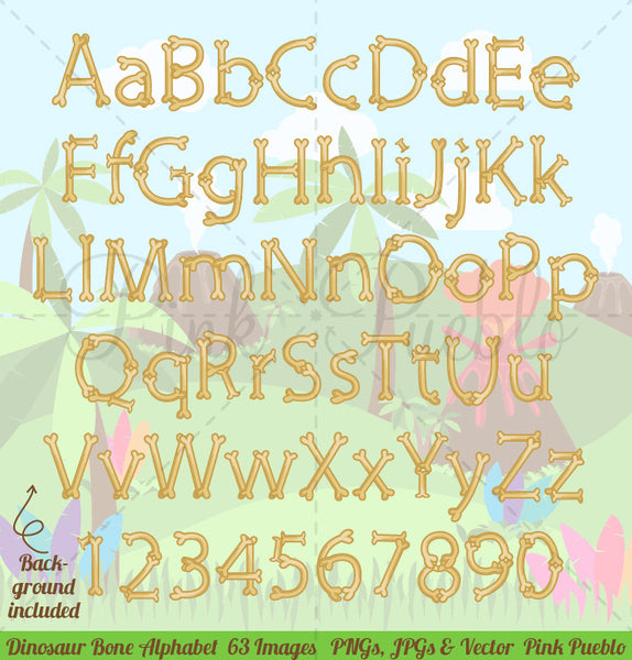 Dinosaur Bone Alphabet Clipart and Vectors - PinkPueblo
