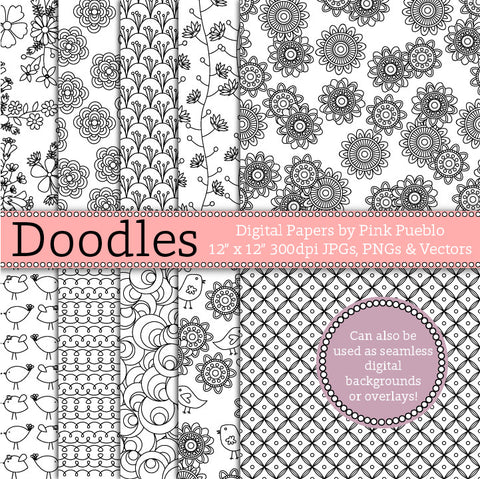 Doodle Papers or Seamless Backgrounds - PinkPueblo