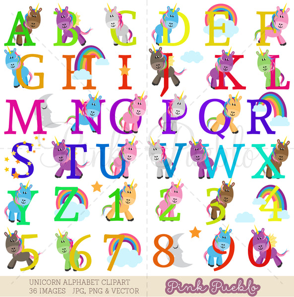 Uppercase Unicorn Alphabet Clipart & Vectors