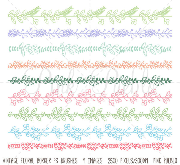 Floral Border Photoshop Brushes - PinkPueblo