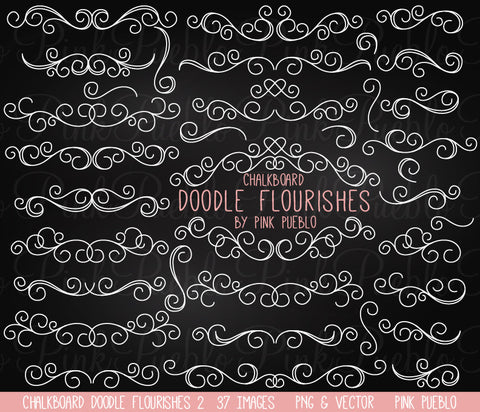 Chalkboard Doodle Flourishes Clipart and Vectors