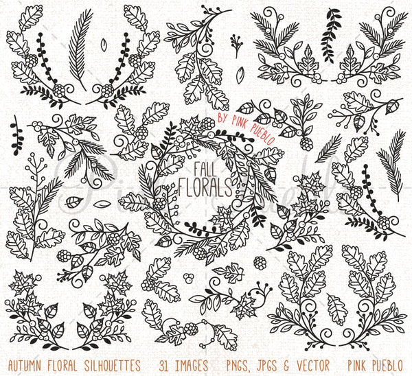 Thanksgiving Flower Silhouettes Clipart and Vectors