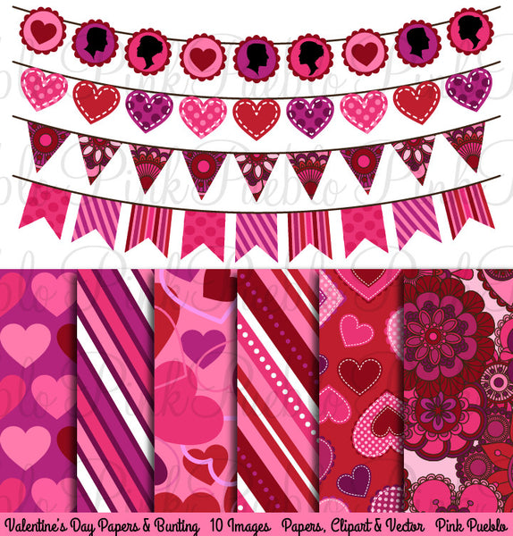 Valentine's Day Bunting Clipart and Digital Papers - PinkPueblo