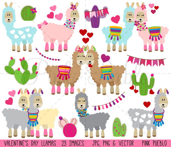 Valentine's Day Llama Clipart and Vectors - PinkPueblo