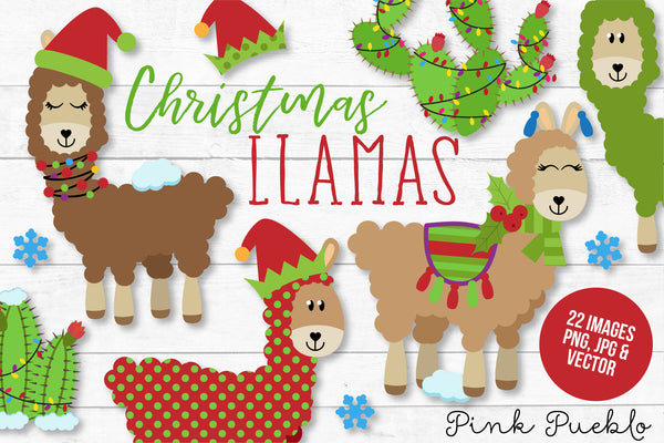 Christmas Llama Clipart and Vectors - PinkPueblo
