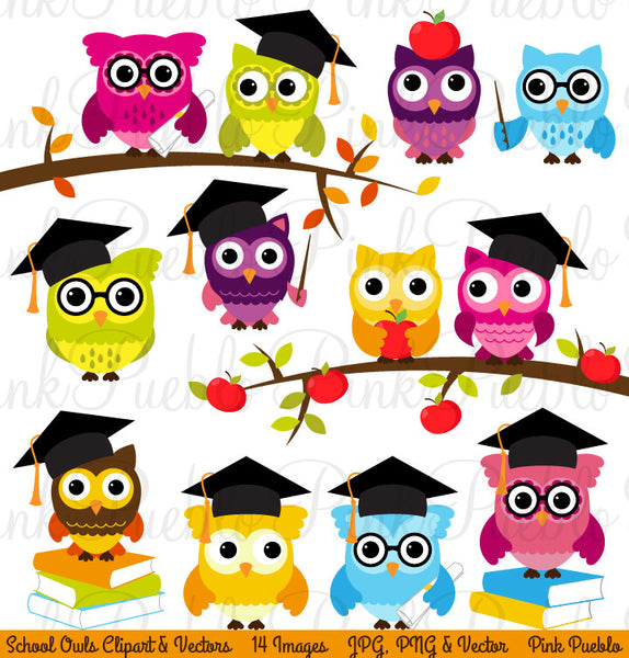 Back to School Owl Clipart & Vectors - PinkPueblo