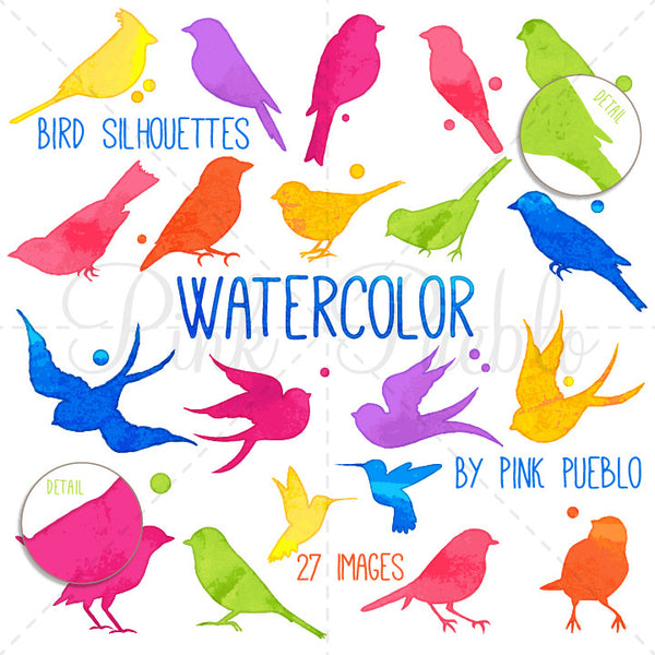 Watercolor Bird Silhouettes Clipart and Vectors