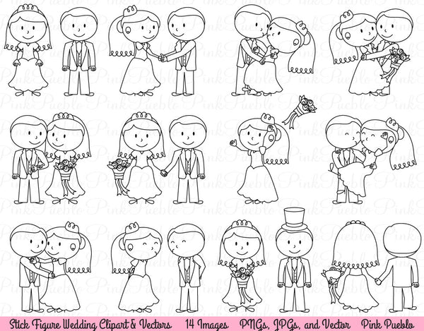 Wedding Stick Figure Clipart and Vectors