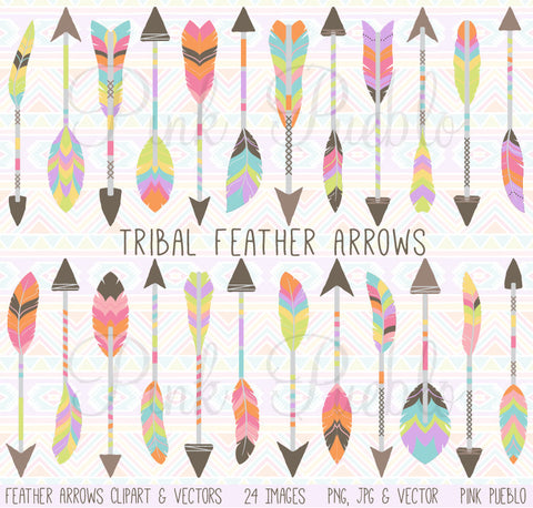 Tribal Feather Arrow Clipart - PinkPueblo