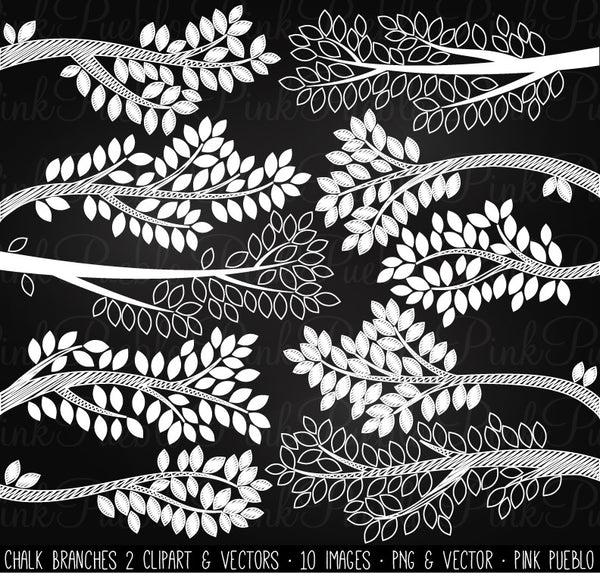 Chalkboard Tree Branch Silhouettes Clipart