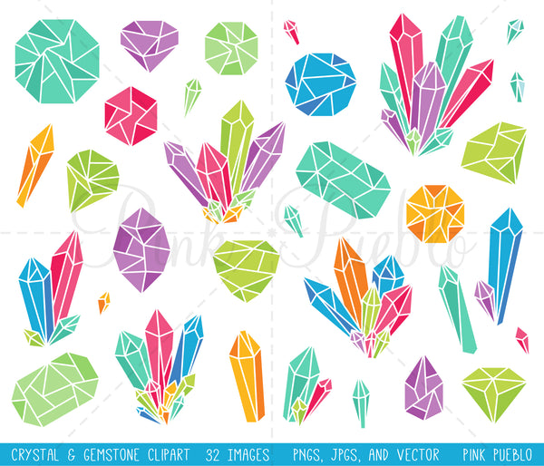 Bright Crystal Clipart and Vectors - PinkPueblo