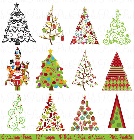 Christmas Tree Clipart and Vectors - PinkPueblo
