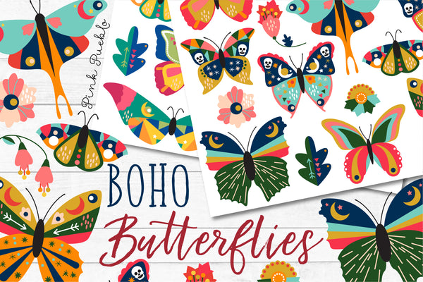 Boho Butterfly Clipart and Vectors - PinkPueblo