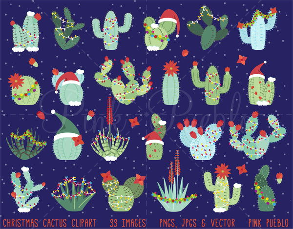Christmas Cactus Clipart and Vectors - PinkPueblo