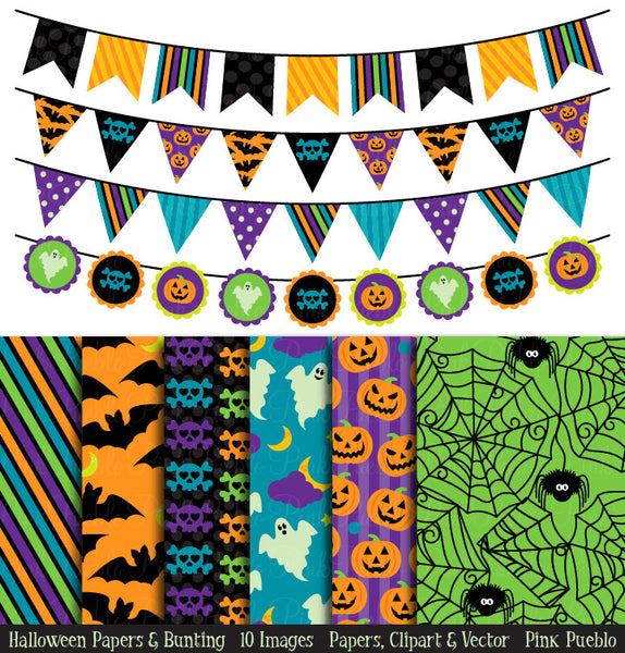 Halloween Bunting and Backgrounds - PinkPueblo