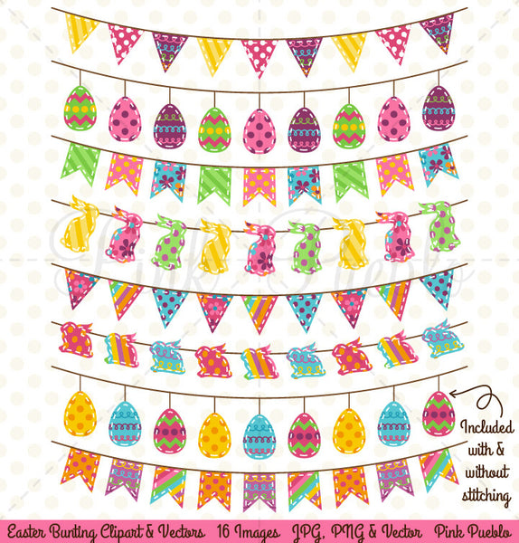 Easter Bunting Clipart and Vectors