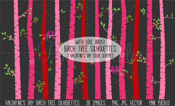 Valentine's Day Birch Trees Clipart and Vectors