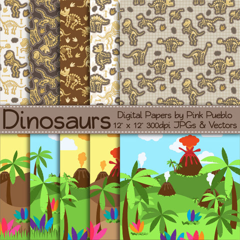 Dinosaur Digital Papers, Backgrounds and Patterns