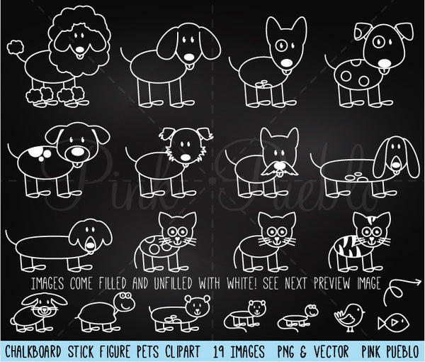 Chalkboard Stick Figure Pets Clipart and Vector - PinkPueblo