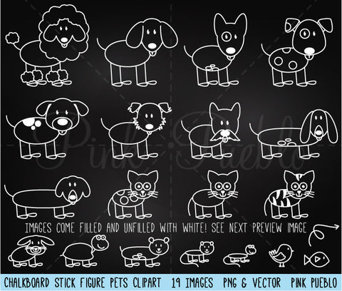 Chalkboard Stick Figure Pets Clipart and Vector