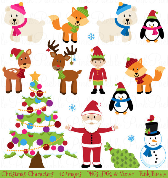 Christmas Animals Clipart & Vectors - PinkPueblo