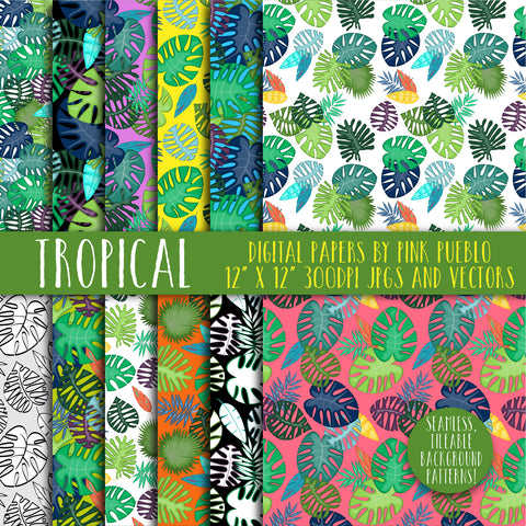 Tropical Leaf Patterns and Backgrounds - PinkPueblo