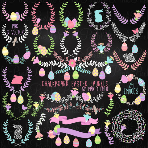 Chalk Easter Laurel Clipart Vectors - PinkPueblo