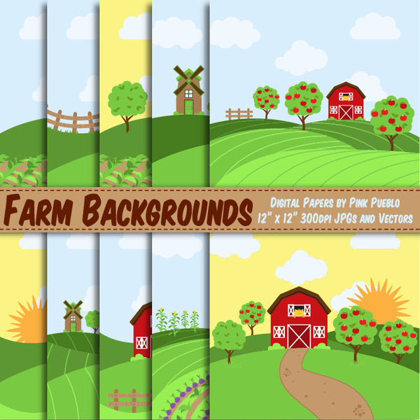 Farm Digital Paper or Backgrounds