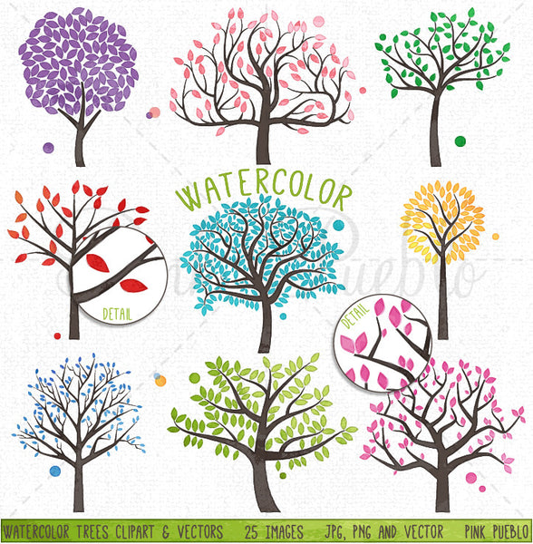 Watercolor Trees Clipart - PinkPueblo
