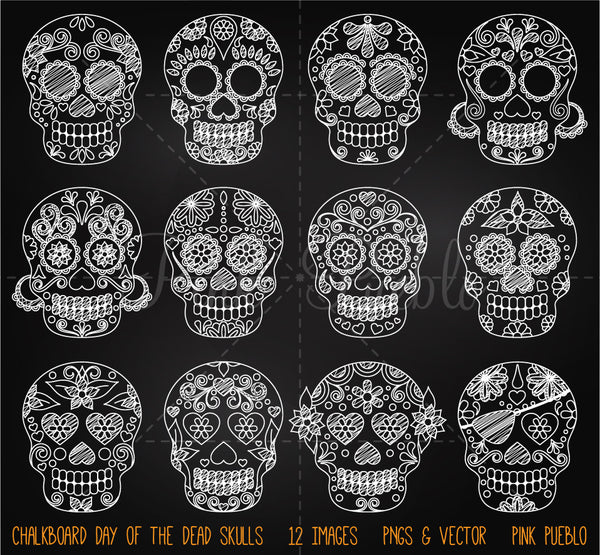 Chalkboard Day of the Dead Skulls Clipart and Vectors - PinkPueblo