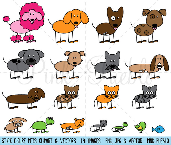 Stick Figure Pets or Animals Clipart and Vector