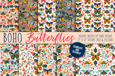 Vintage Style Butterfly and Moth Patterns - PinkPueblo