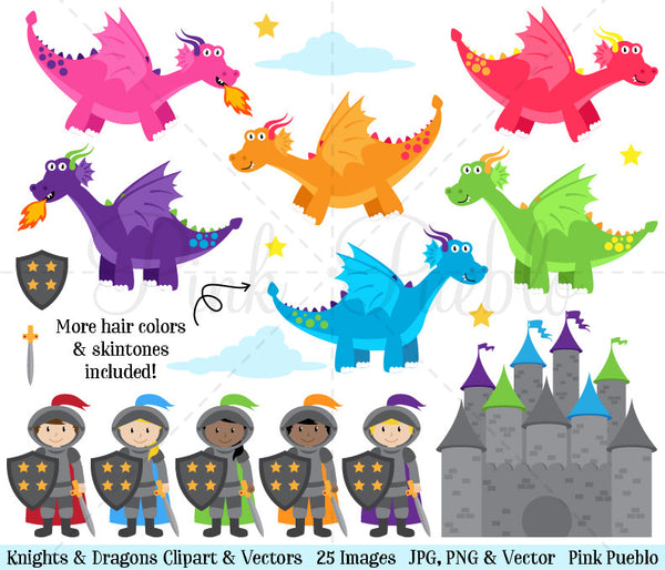 Knights and Dragons Clipart & Vectors - PinkPueblo