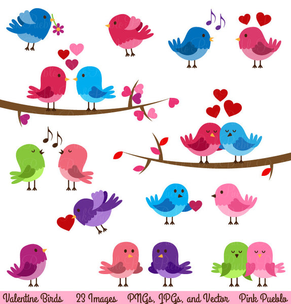 Valentine Birds Clipart and Vectors - PinkPueblo