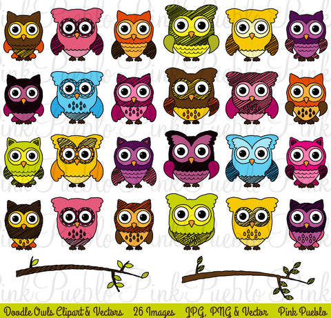 Doodle Owl Clipart and Vectors - PinkPueblo