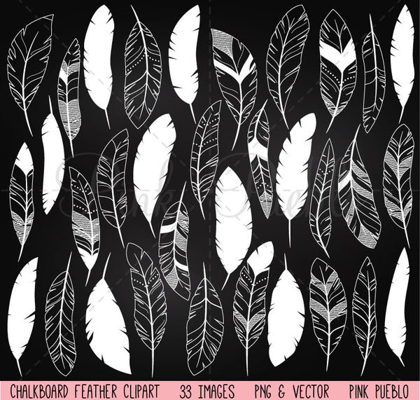 Chalkboard Feather Clipart - PinkPueblo