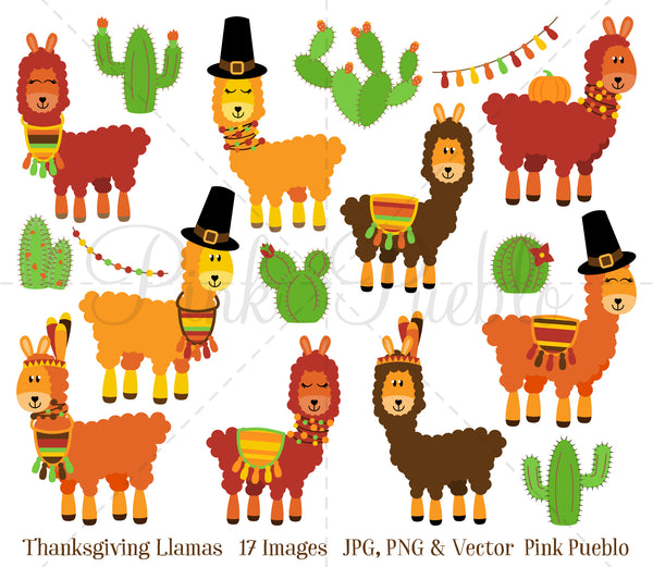 Thanksgiving Llama Clipart and Vectors - PinkPueblo