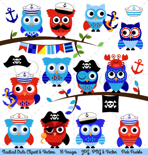 Nautical Owls Clipart and Vectors - PinkPueblo