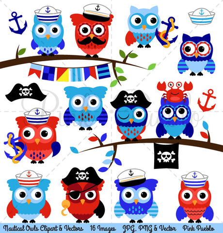 Nautical Owls Clipart and Vectors
