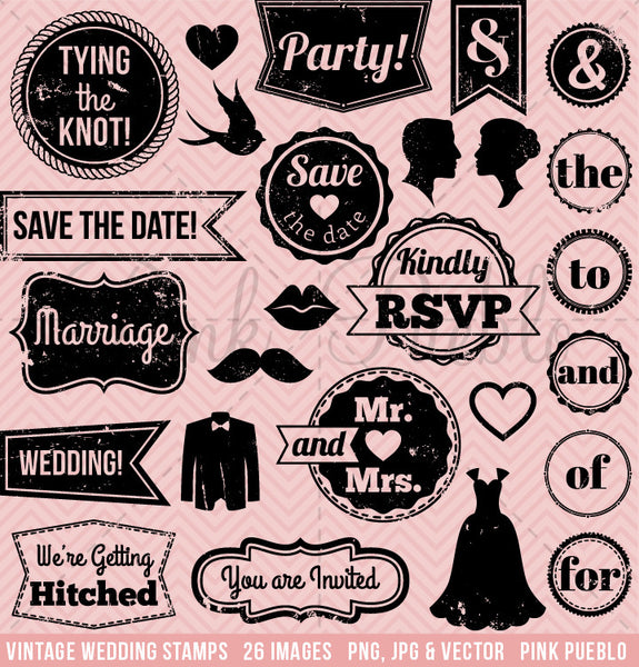 Vintage Wedding Stamp Clipart and Vectors