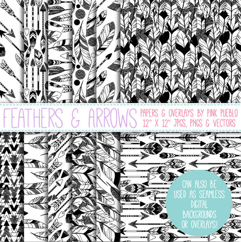Feather and Arrow Backgrounds or Digital Papers - PinkPueblo