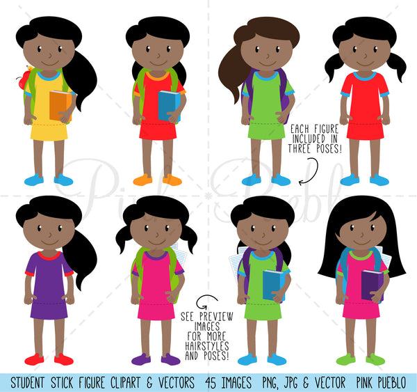 Huge Pack of African American Female Student Clipart and Vectors - PinkPueblo